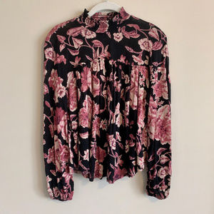 Lucky Brand Floral Mock Neck Blouse